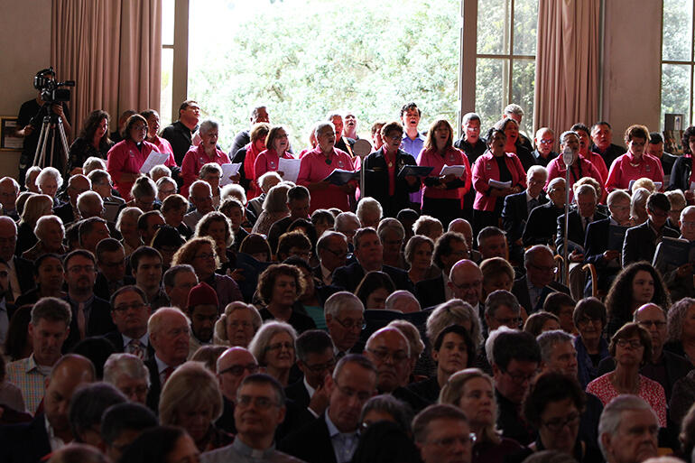 Sea of faces: the ones at the back are members of the Auckland Anglican Maori Club, singing a waiata in respponse to Bishop Kito's mihi.