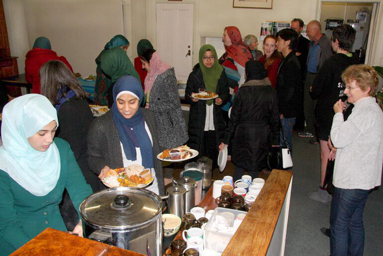 Members of Al Huda Mosque join with Dunedin North Anglican Parish members at the buffet tables for an Iftar meal back in 2018.
