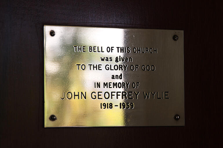 In memory of Geoffrey Wylie - the plaque on the church door which marks the provenance of the bell at St Martin's at St Chad's.