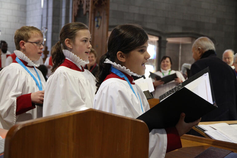 Nelson Cathedral choristers sing 'O Taste and See' by Vaughan Williams during communion.
