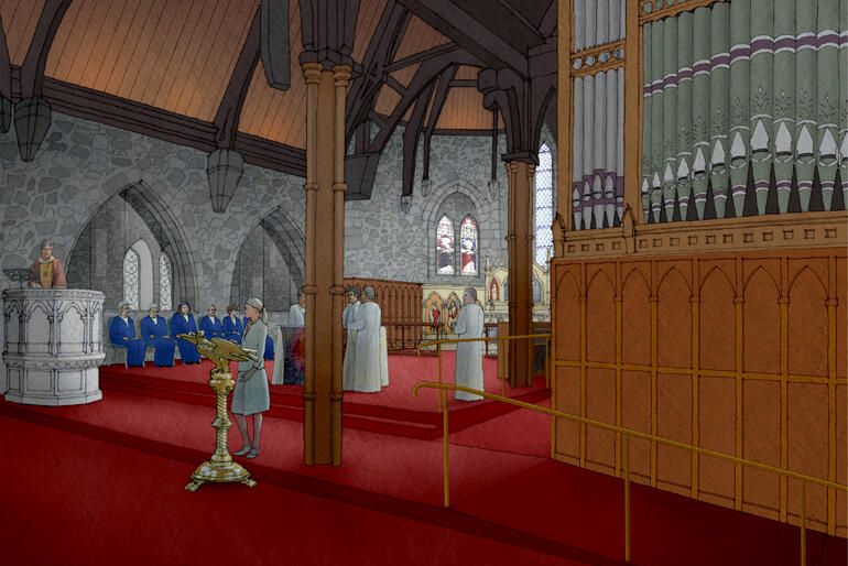An architectural concept drawing shows the restored interior of the Taranaki Cathedral of St Mary.