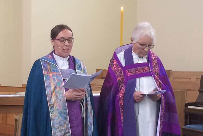 Bishop Eleanor Sanderson and Bishop Penny Jamieson lead prayers at the Eucharist marking 40 years of women's priestly ordination in Wellington.