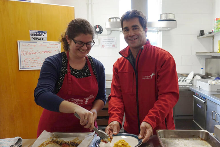 Wellington City Missioner Murray Edridge joins kitchen duty back in 2019. The City Mission gained crucial project finance from Christian Savings.