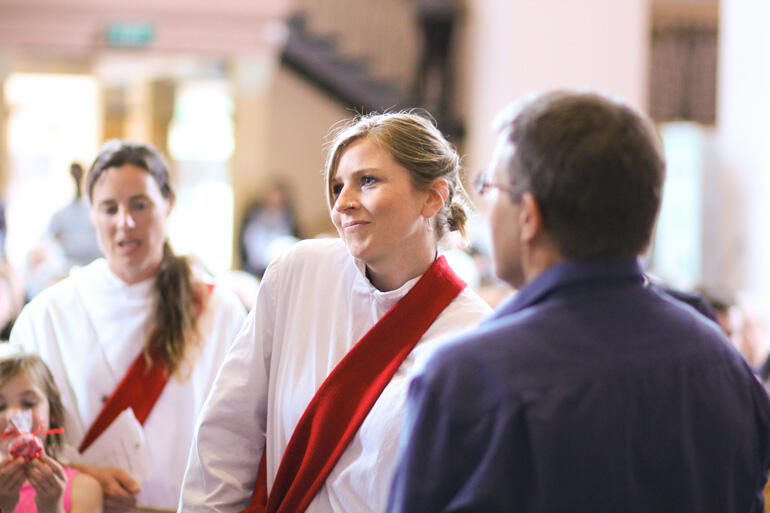 Rev Sonya Lewthwaite, who is Ramsey House Anglican Chaplain at Victoria University, readies to make her vows as deacon.