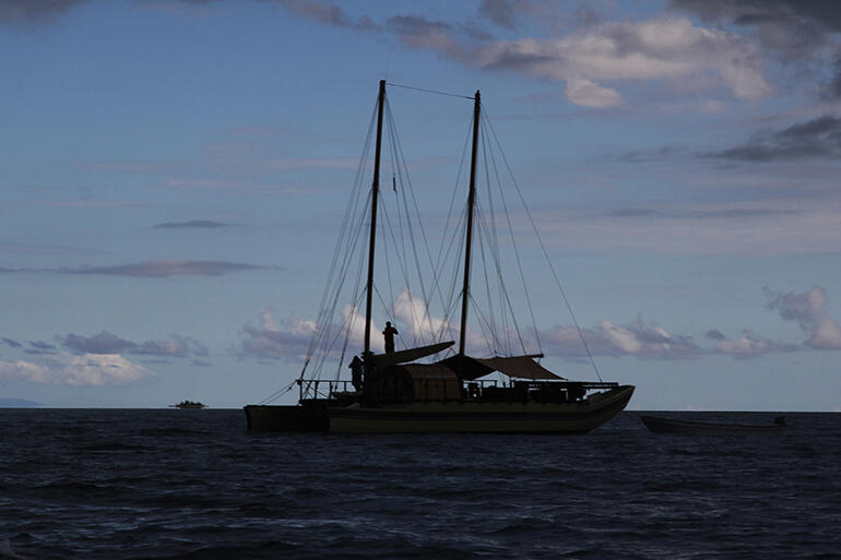Dusk shot of Uto Ni Yalo - the vaka which will be the Archbishops' ride to a sandbank in Suva Harbour.