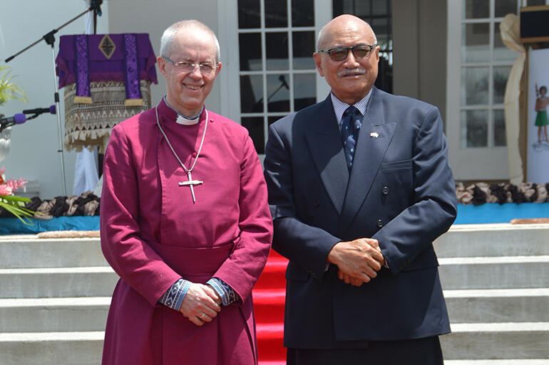 The Archbishop of Canterbury with the President of Fiji, His Excellency Major-General (Ret) Jioji Konrote.