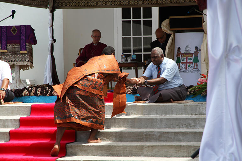 The kava bowl is given to the guests of honour.