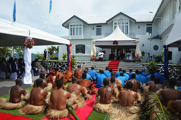 The State welcome was held at Borron House in Suva - the former Governor General's residence.