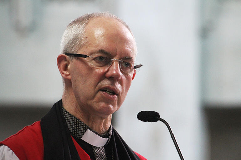 Archbishop Justin Welby, the 105th Archbishop of Canterbury, preaching in Suva's Holy Trinity Cathedral.