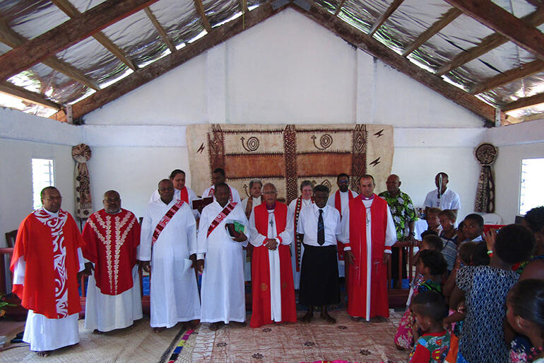The altar party. The two new deacons are Rev Peni Waqamaira (left) and Rev Waisea Radrodro.