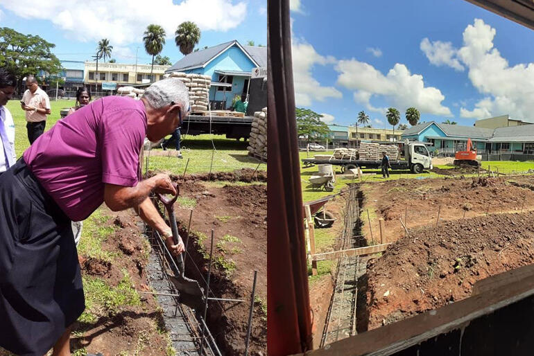 Bishop Henry Bull breaks ground as he blesses the building site in December 2019. / Looking across the foundation diggings at St Mary's Labasa.