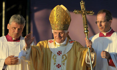 Pope Benedict celebrates mass in Bellahouston Park, Glasgow. Photograph: Andrew Yates/AFP/Getty Images
