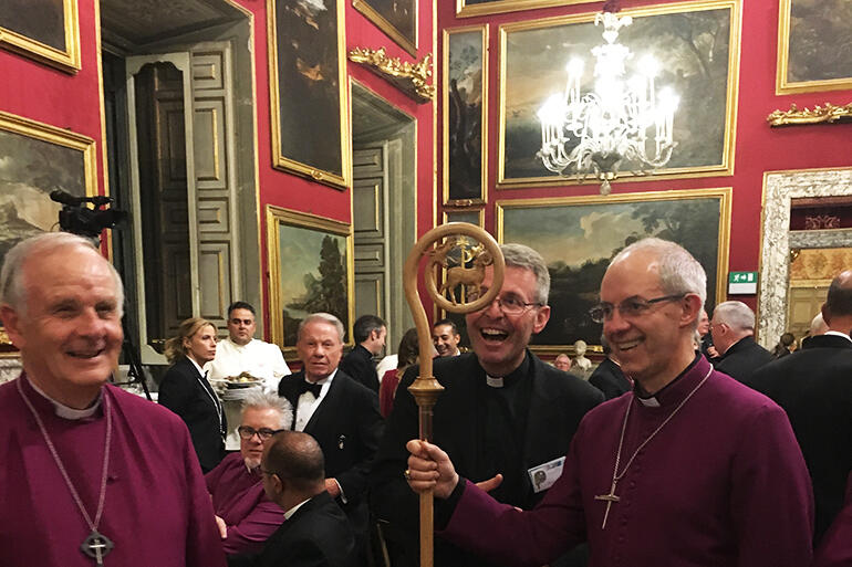 Archbishop Justin Welby with the crozier presented to him by Pope Francis. It's a replica of the one carried by St Augustine.