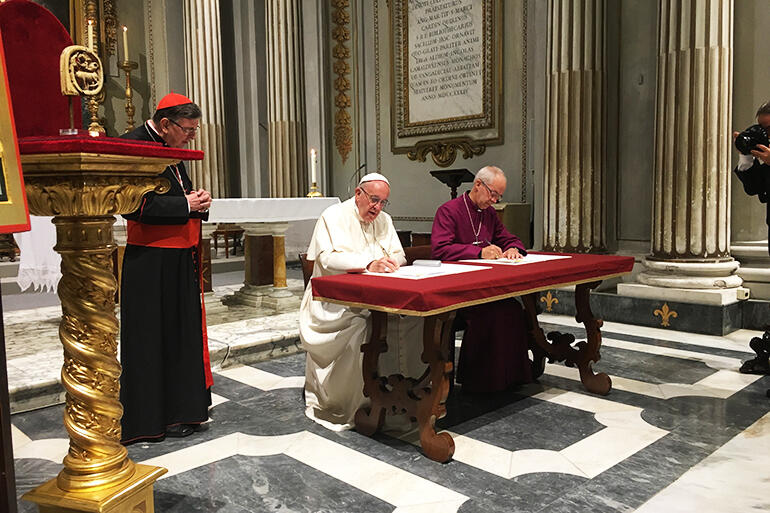 Pope Francis and Archbishop Welby signing their declaration in the church from which Pope Gregory sent Augustine out on this mission to the Angles.