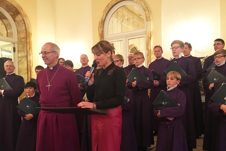 The Archbishop of Canterbury, with Sally Axworthy, the British Ambassador to the Holy See, and the choristers of Canterbury Cathedral.