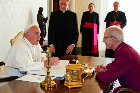 Pope Francis meets Archbishop of Canterbury Justin Welby at the Vatican yesterday.