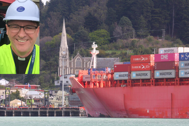 Rev Lance Lukin, Oceania Director of Mission to Seafarers (inset), looking toward Port Chalmers, Otago, from the sea.