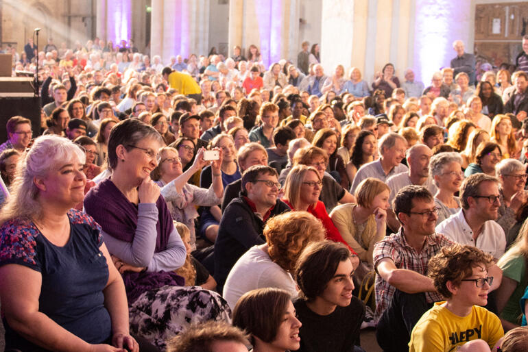 People gather for 'Thy Kingdom Come' beacon events in UK cathedrals.