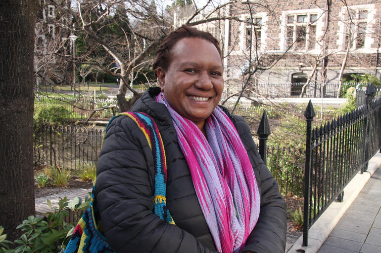 West Papuan human rights advocate Rosa Moiwend arrives at Otago University during her 2019 Aotearoa New Zealand speaking tour.